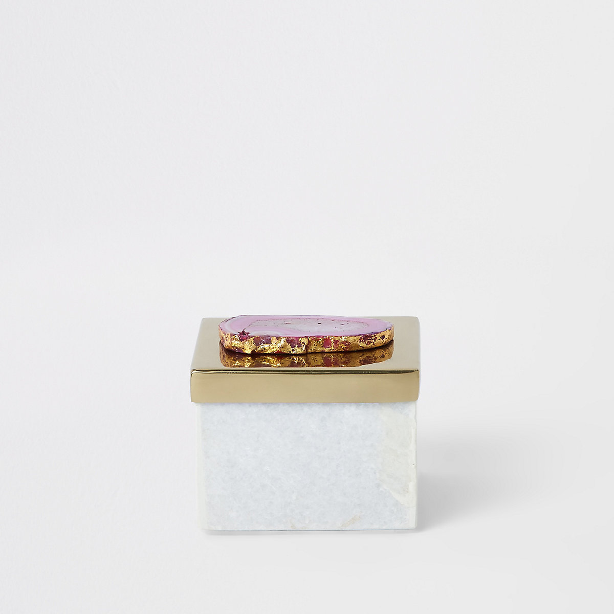 Marble storage box with agate metal lid
