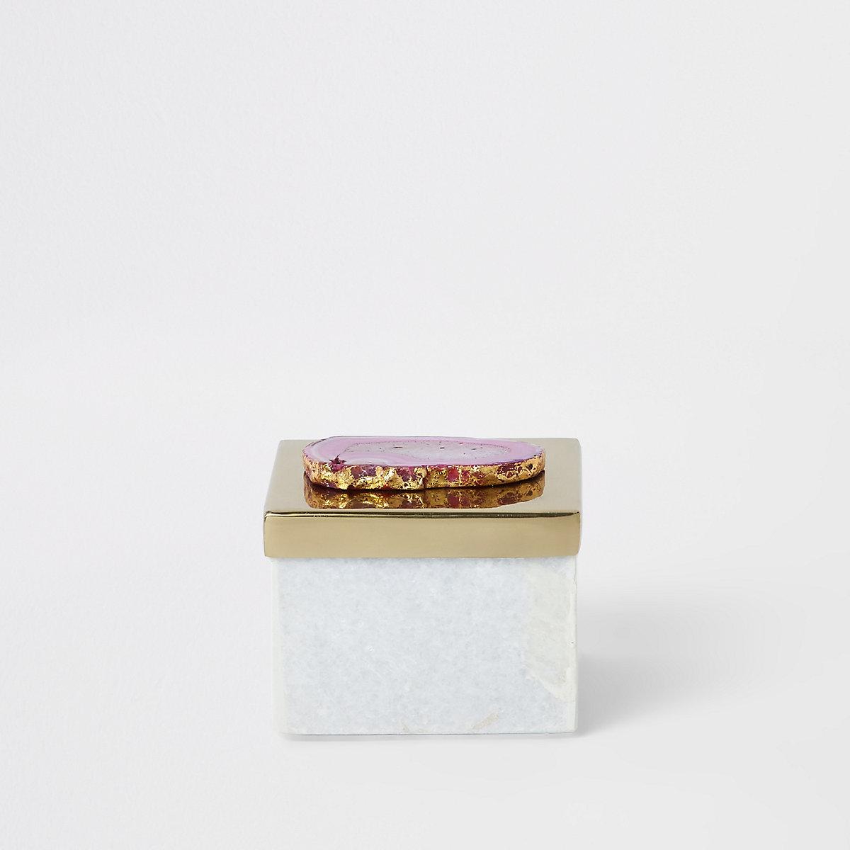 Boîte en marbre avec couvercle en métal et agate