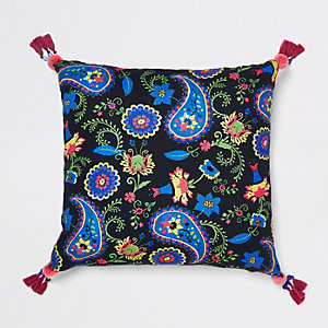 Black paisley cushion