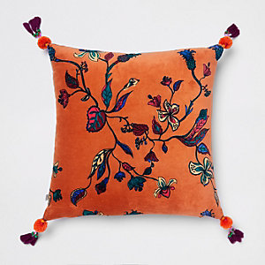 Orange floral velvet cushion
