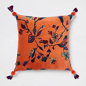 Oranje fluwelen kussen met bloemenprint