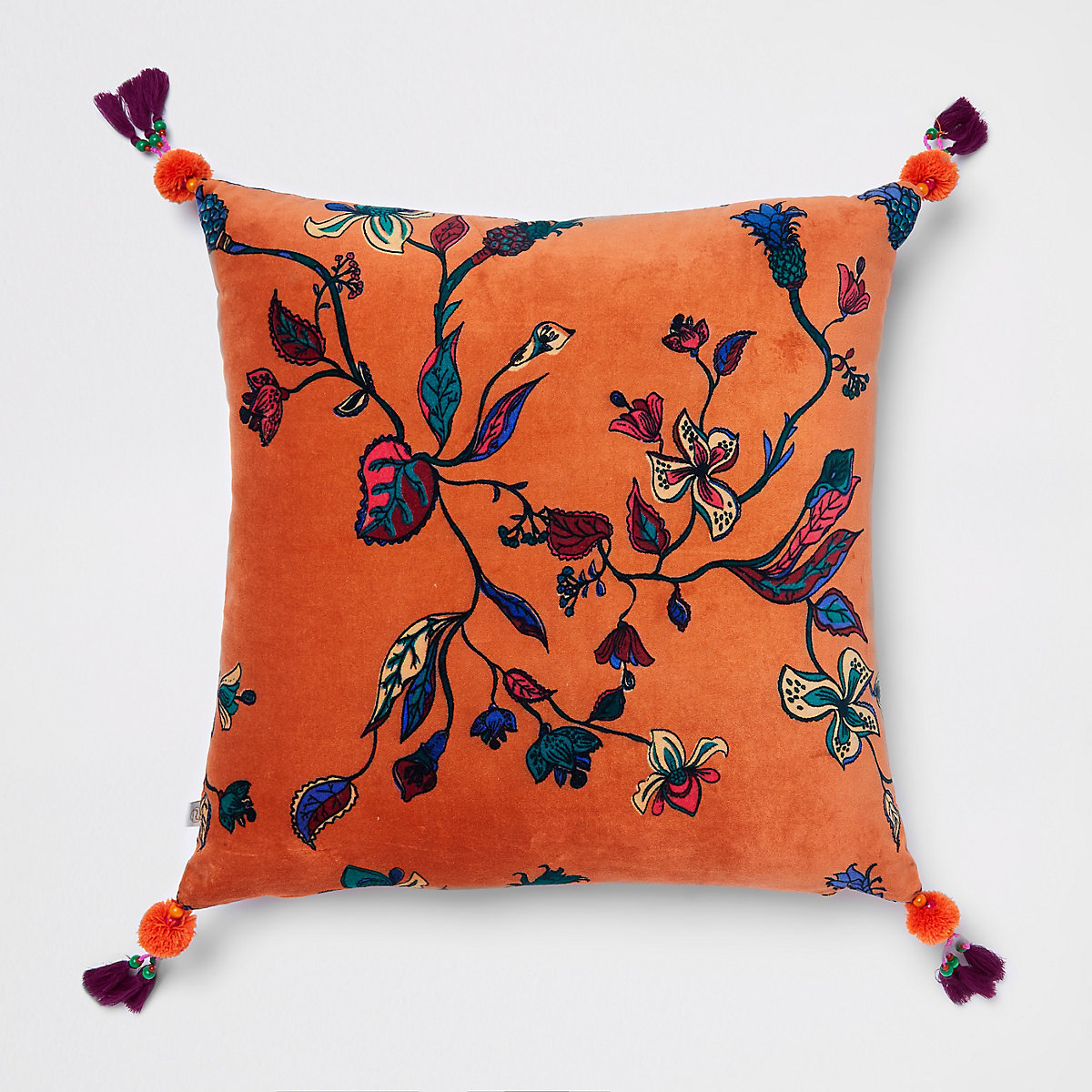 Coussin en velours à fleurs orange