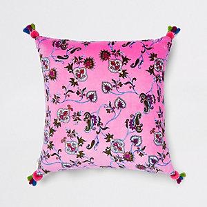 Roze fluwelen kussen met bloemenprint