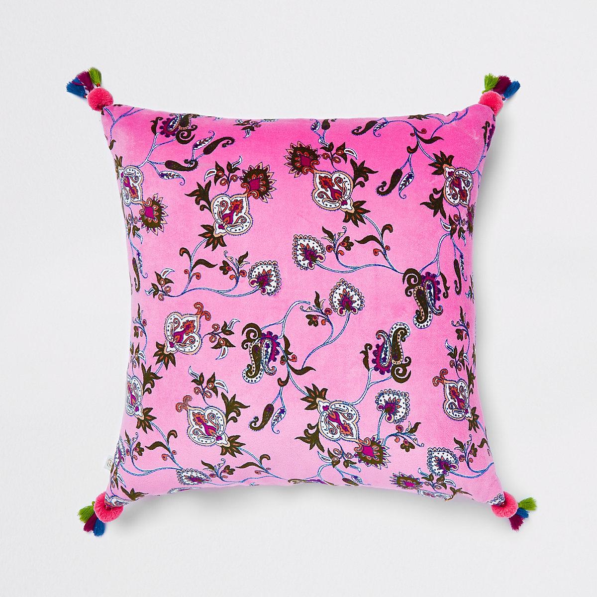 Coussin en velours à fleurs rose