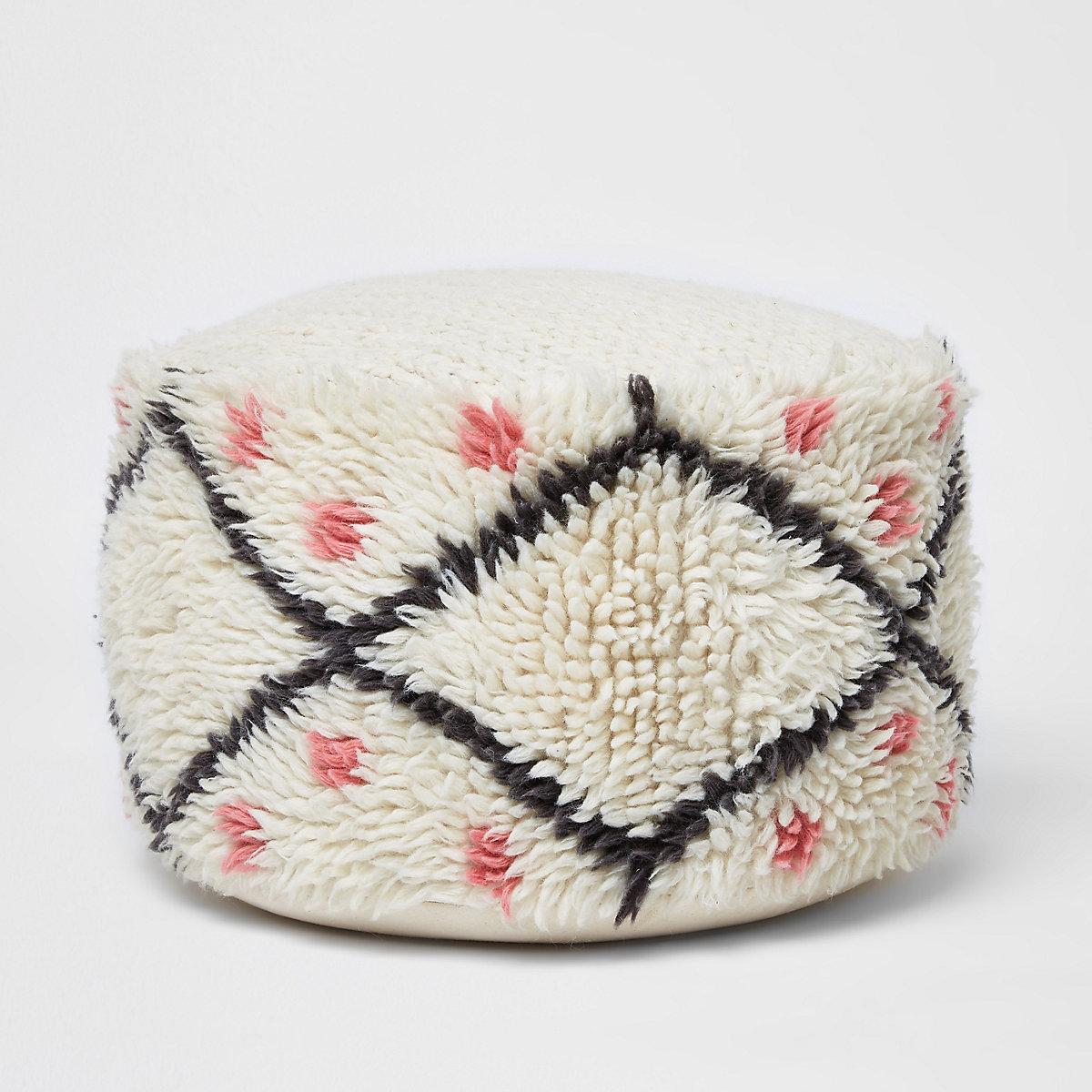 Cream wool pouffe