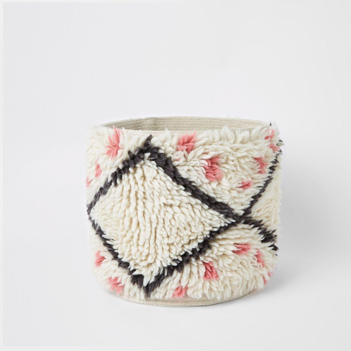 Cream wool storage basket