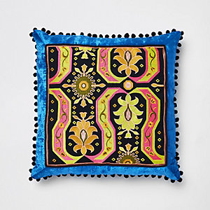 Blue embroidered velvet cushion