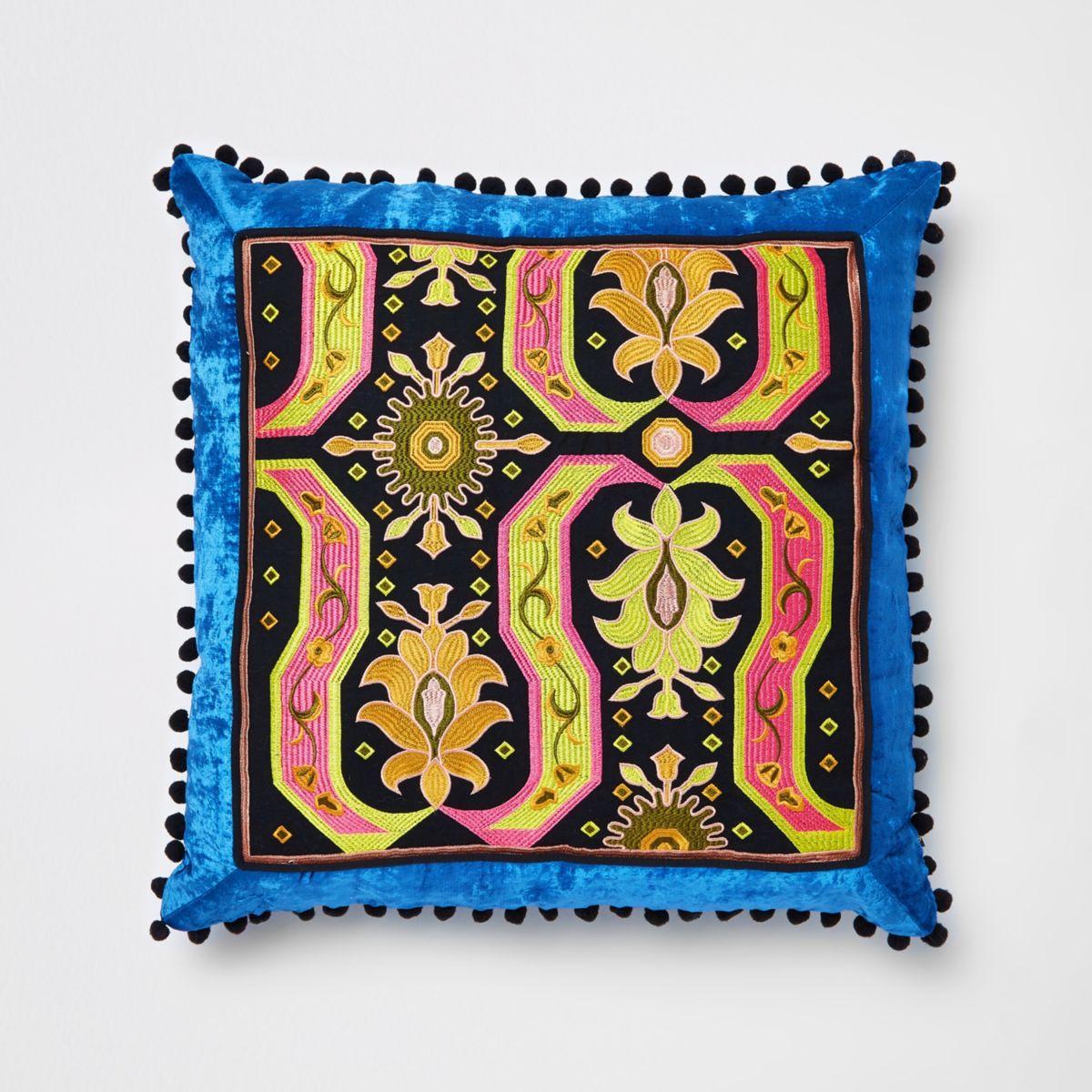 Blue embroidered velvet cushion