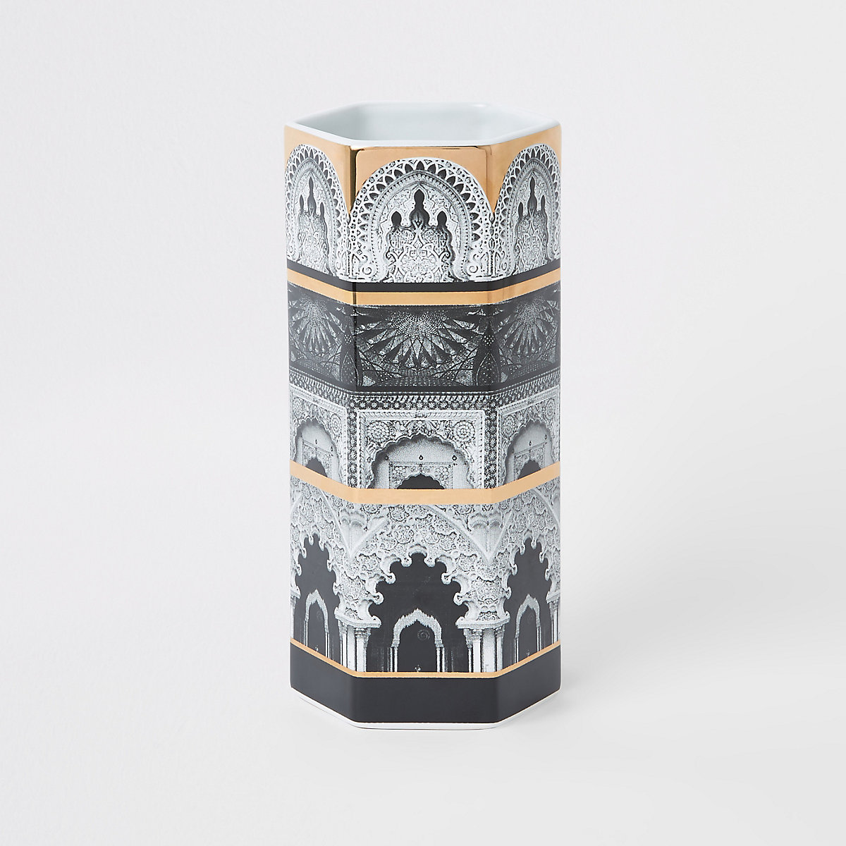 Hexagonal printed white ceramic vase