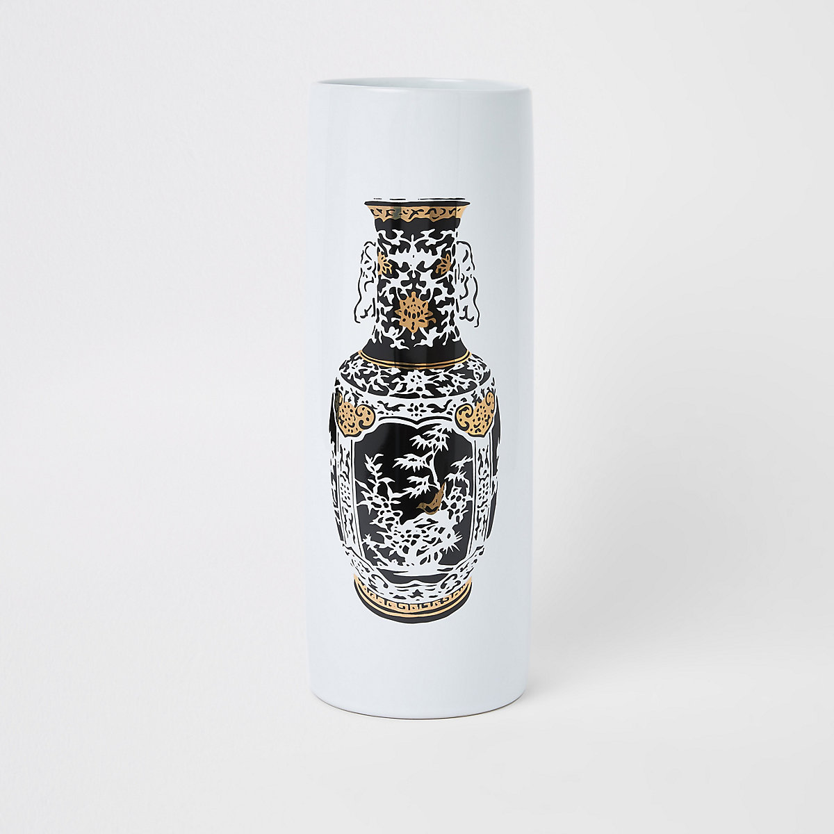 Large white printed ceramic vase