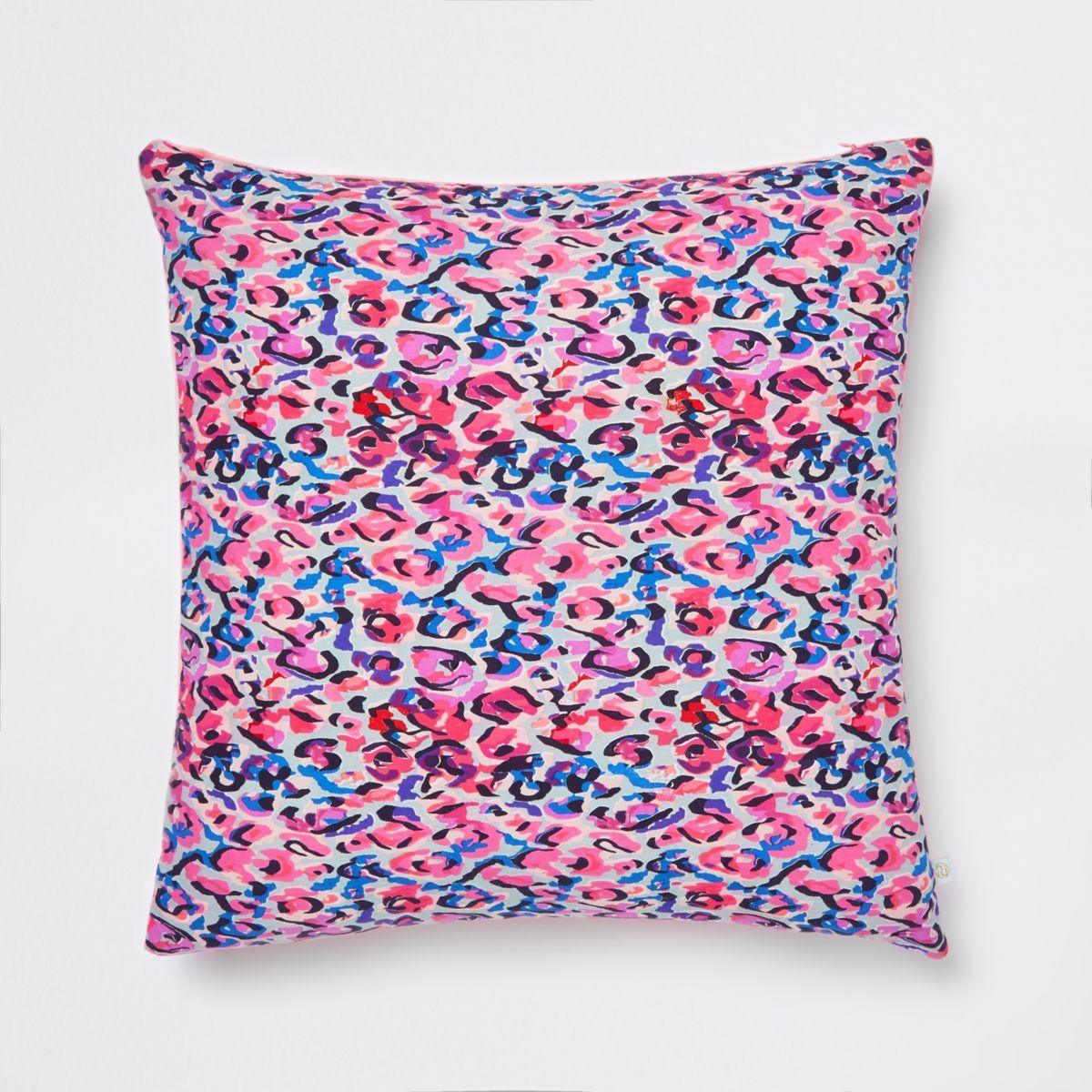 Multi leopard print cushion with velvet back