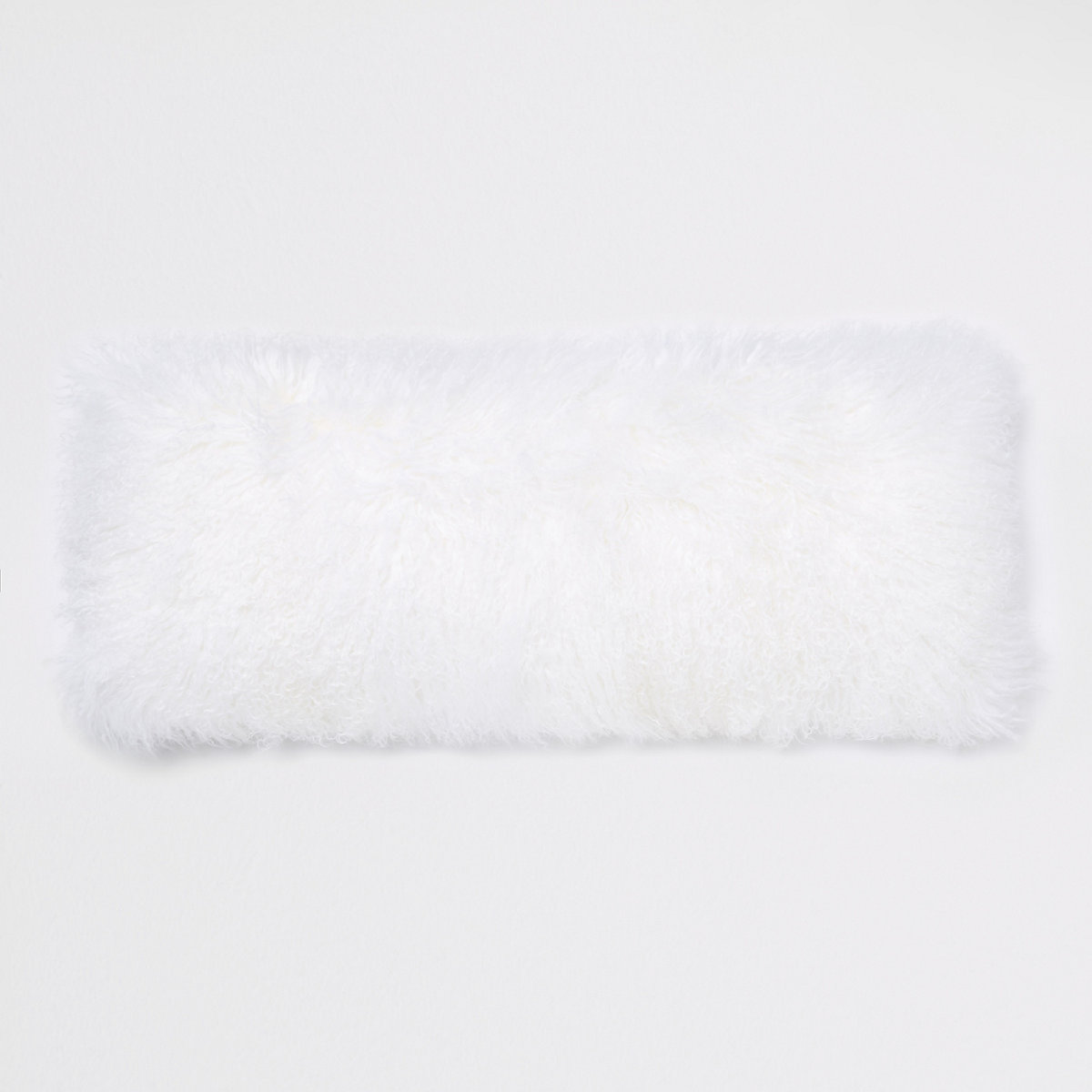 White Mongolian rectangle cushion