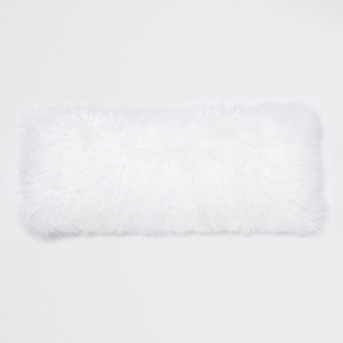 Coussin rectangulaire en fourrure de Mongolie blanc