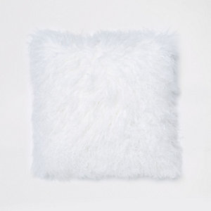 White Mongolian square cushion