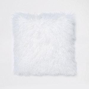 Coussin carré en fourrure de Mongolie blanc