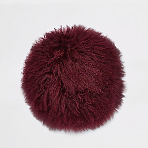 Burgundy Mongolian round cushion