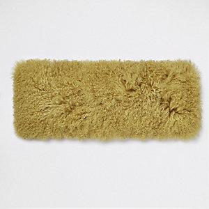 Coussin rectangulaire en fourrure de Mongolie jaune