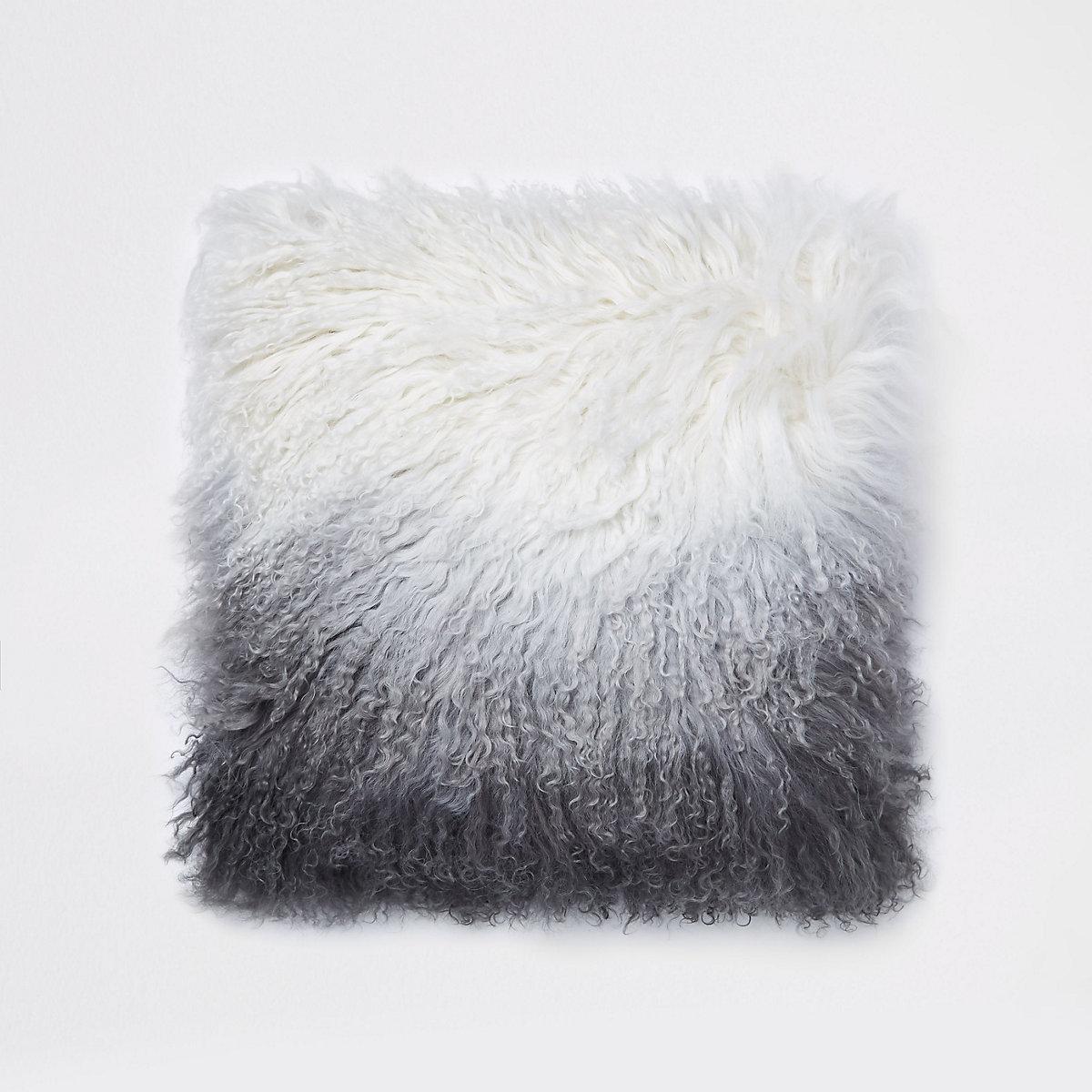 Grey ombre Mongolian cushion