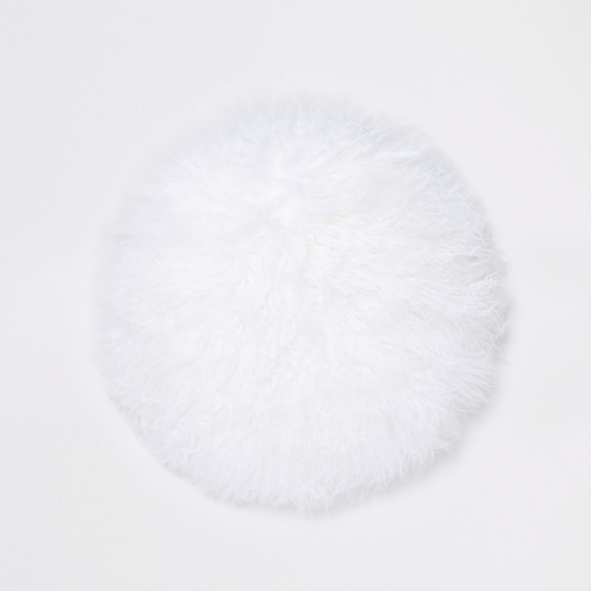 White Mongolian round cushion