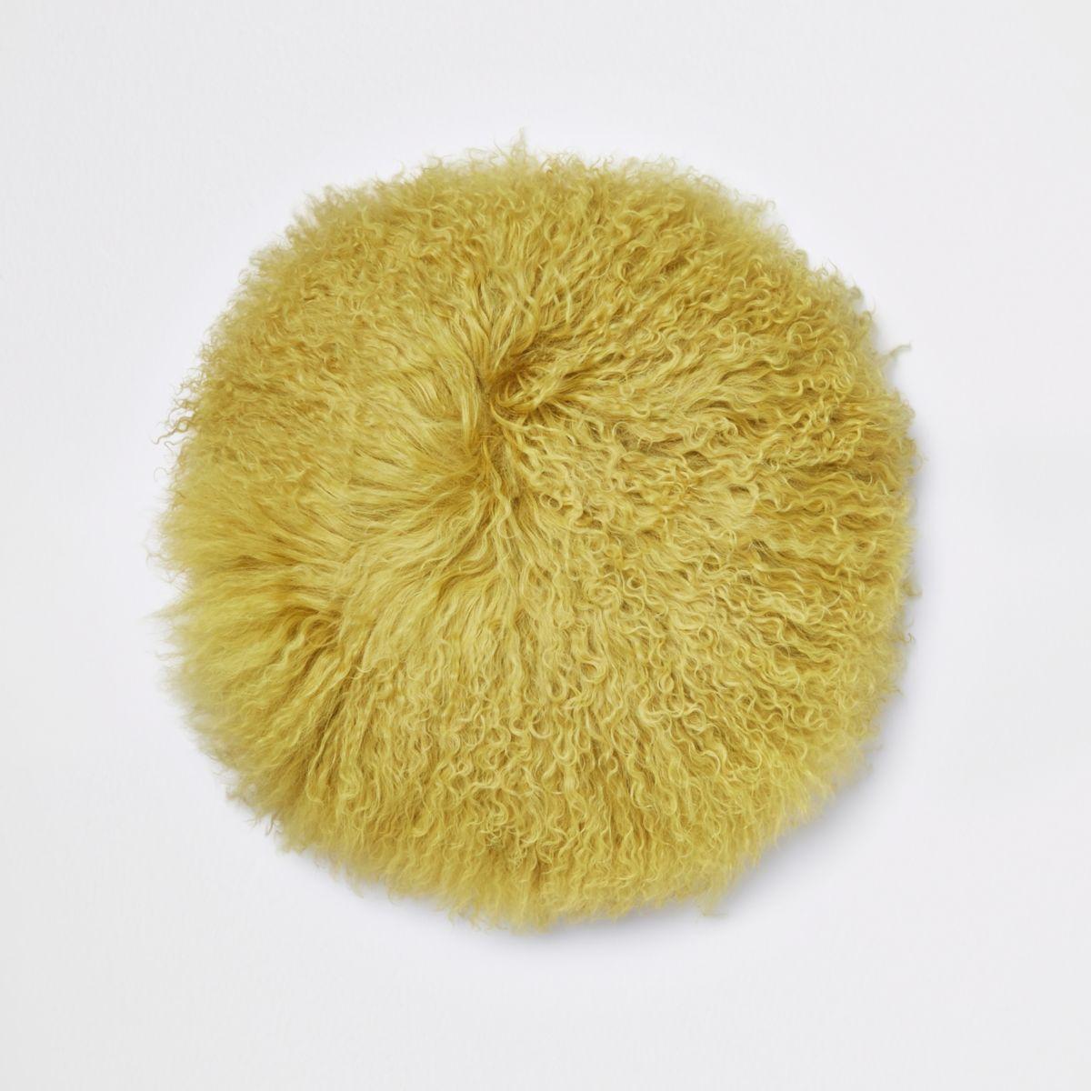 Yellow Mongolian round cushion