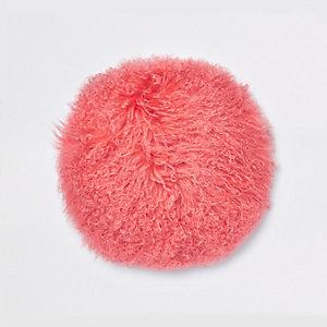 Coral Mongolian round cushion