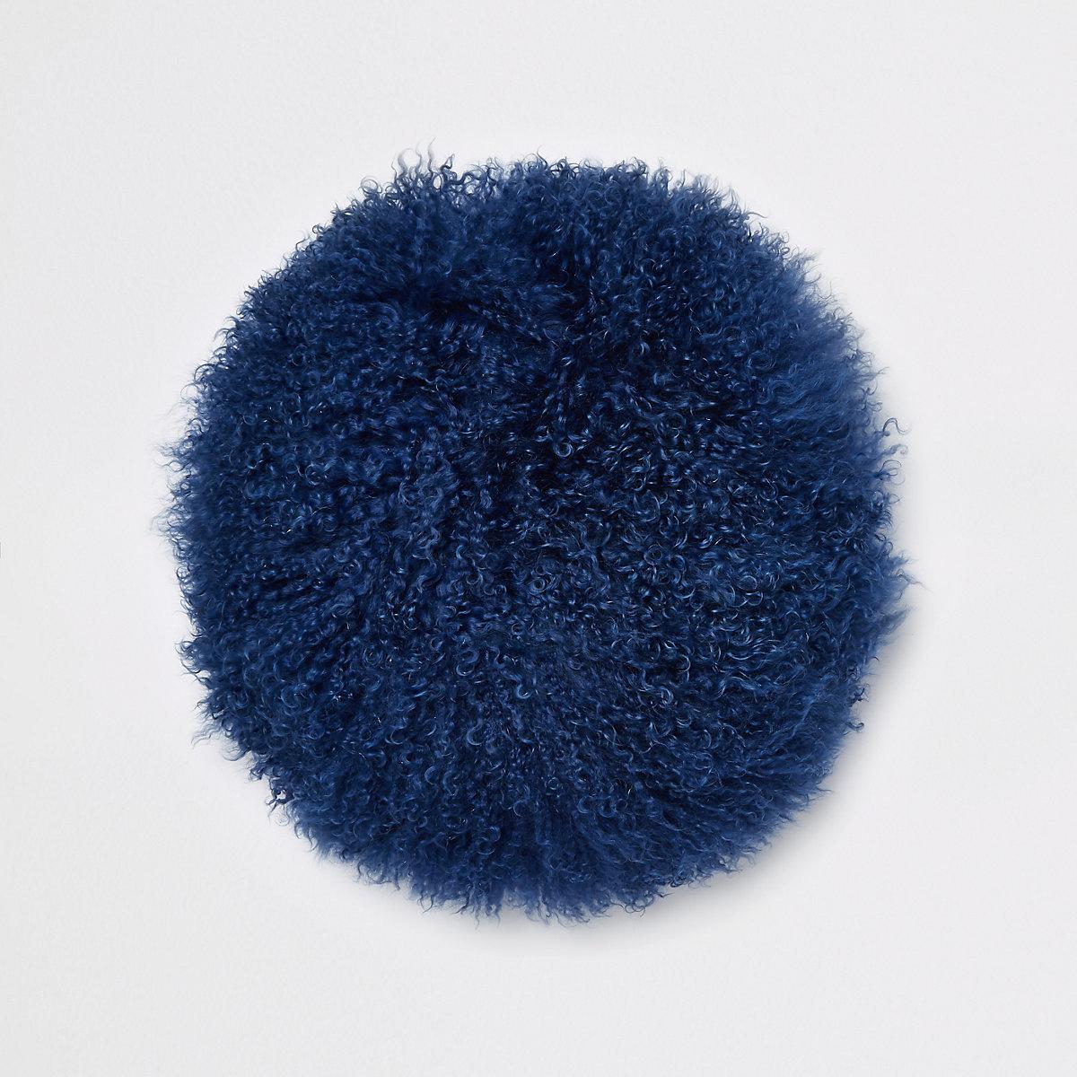 Navy Mongolian round cushion