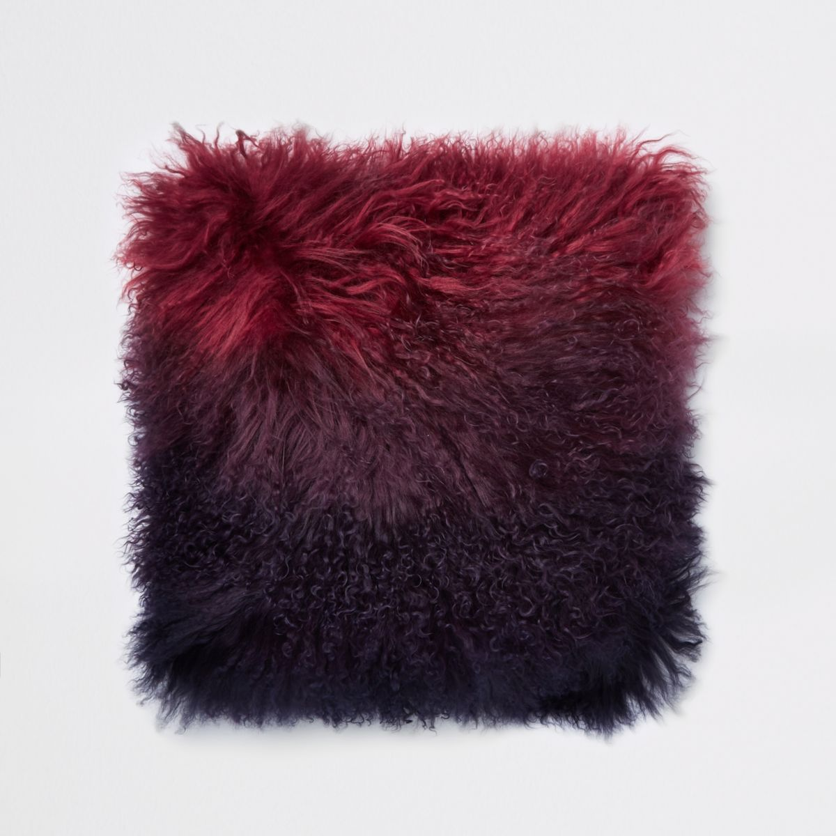Dark red ombre Mongolian cushion