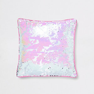 Pink and silver sequin cushion
