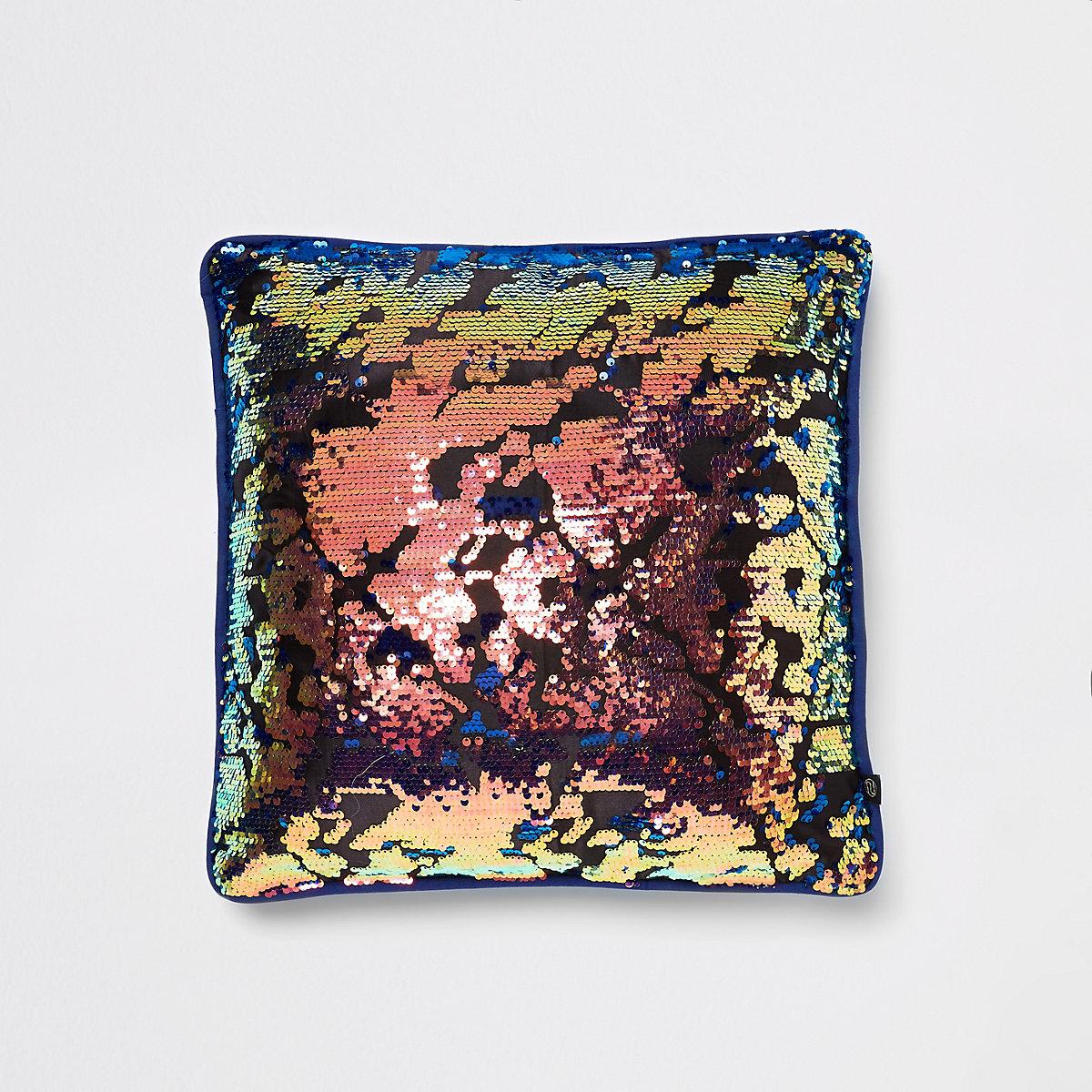 Multi colour sequin cushion