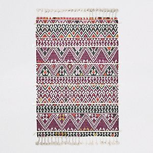 Large pink geometric multi tassel rug