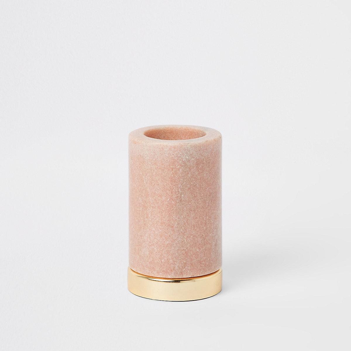 Grand bougeoir chauffe-plat en marbre rose