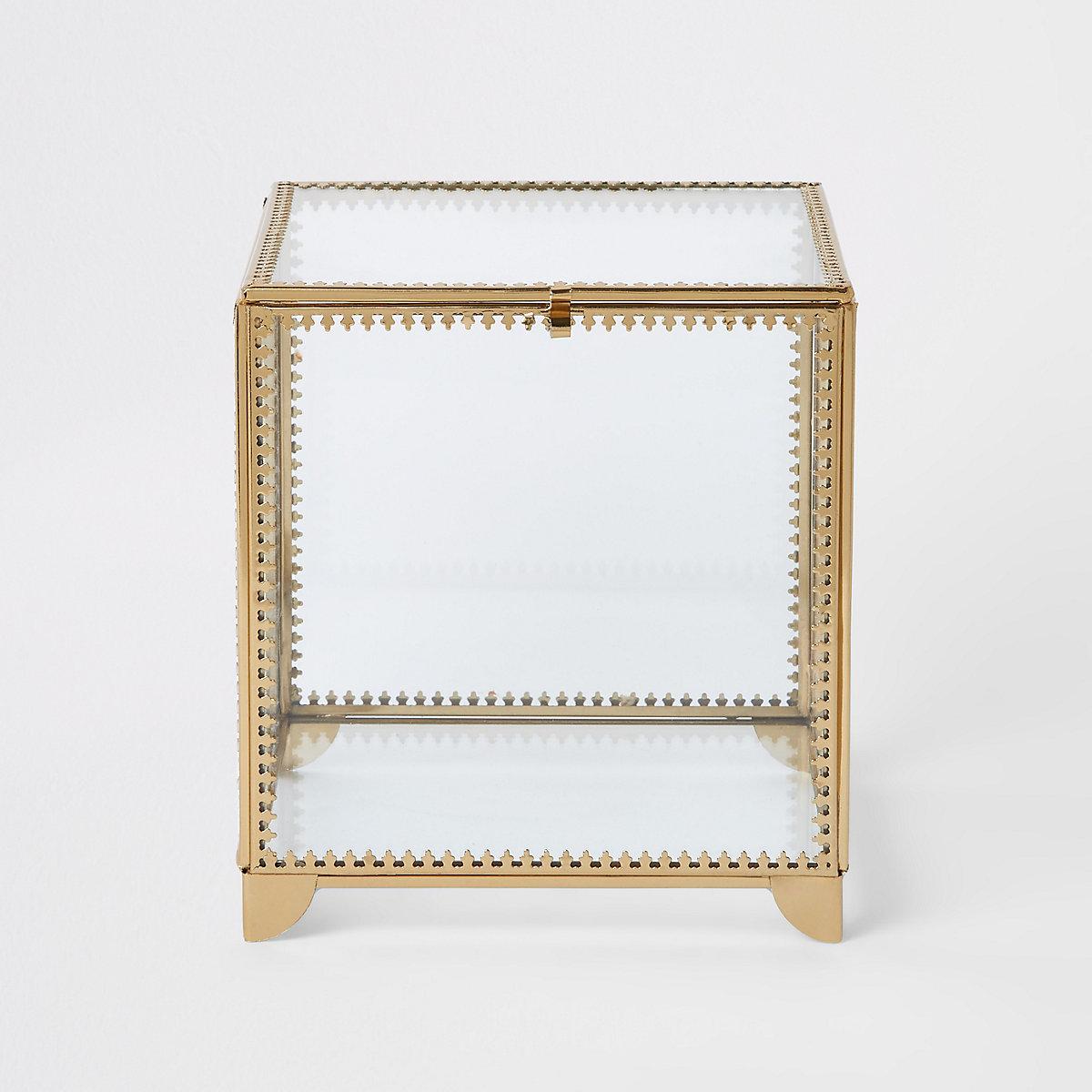 Grande boîte en verre avec bordure en métal