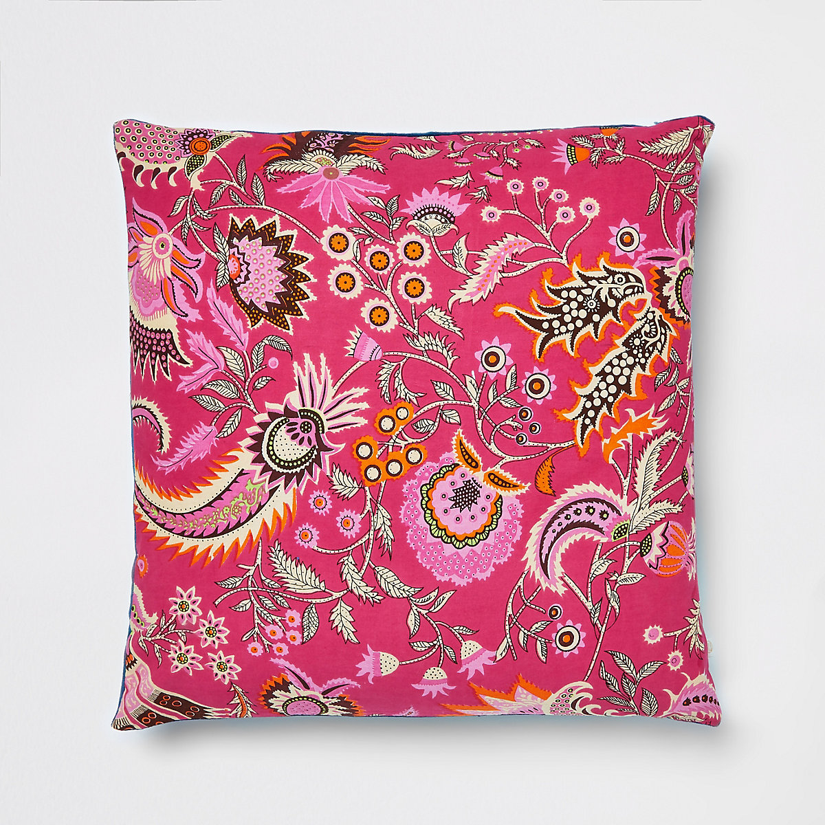 Pink paisley cushion with velvet back