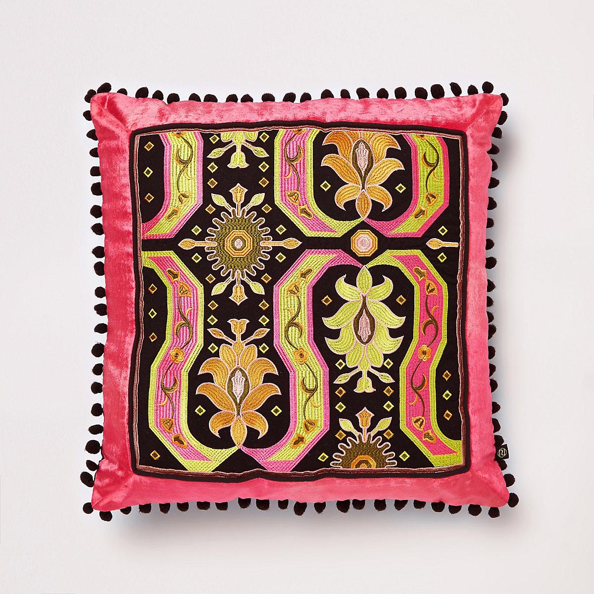 Pink embroidered velvet cushion