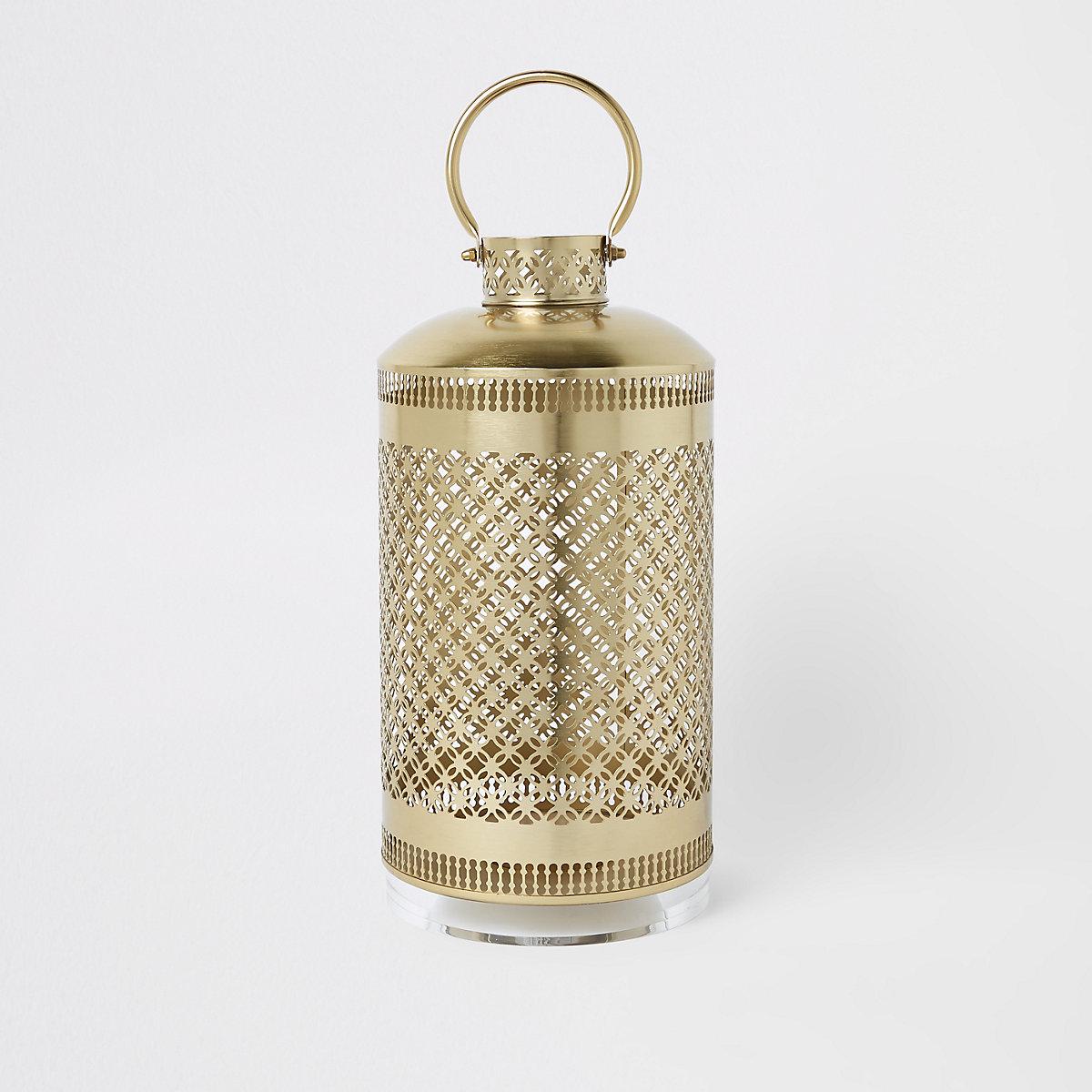 Large metal lantern with perspex base