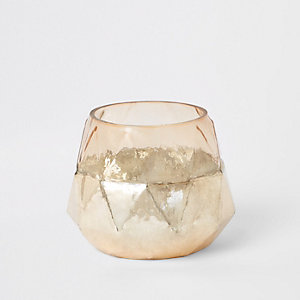 Rose gold geometric tealight holder