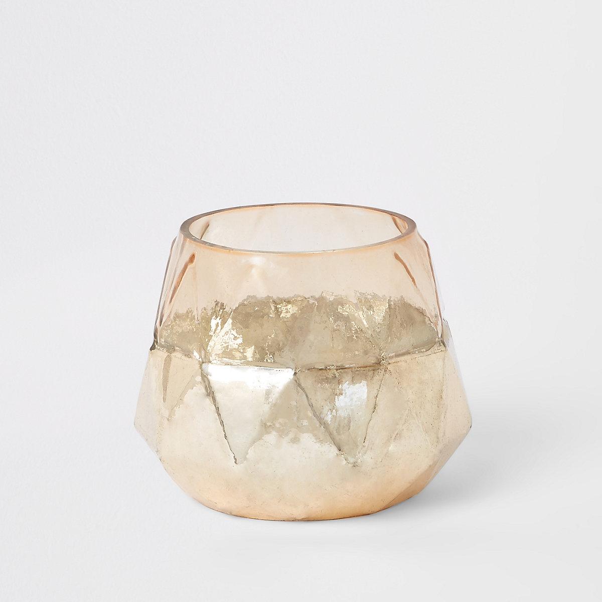 Bougeoir chauffe-plat or rose géométrique