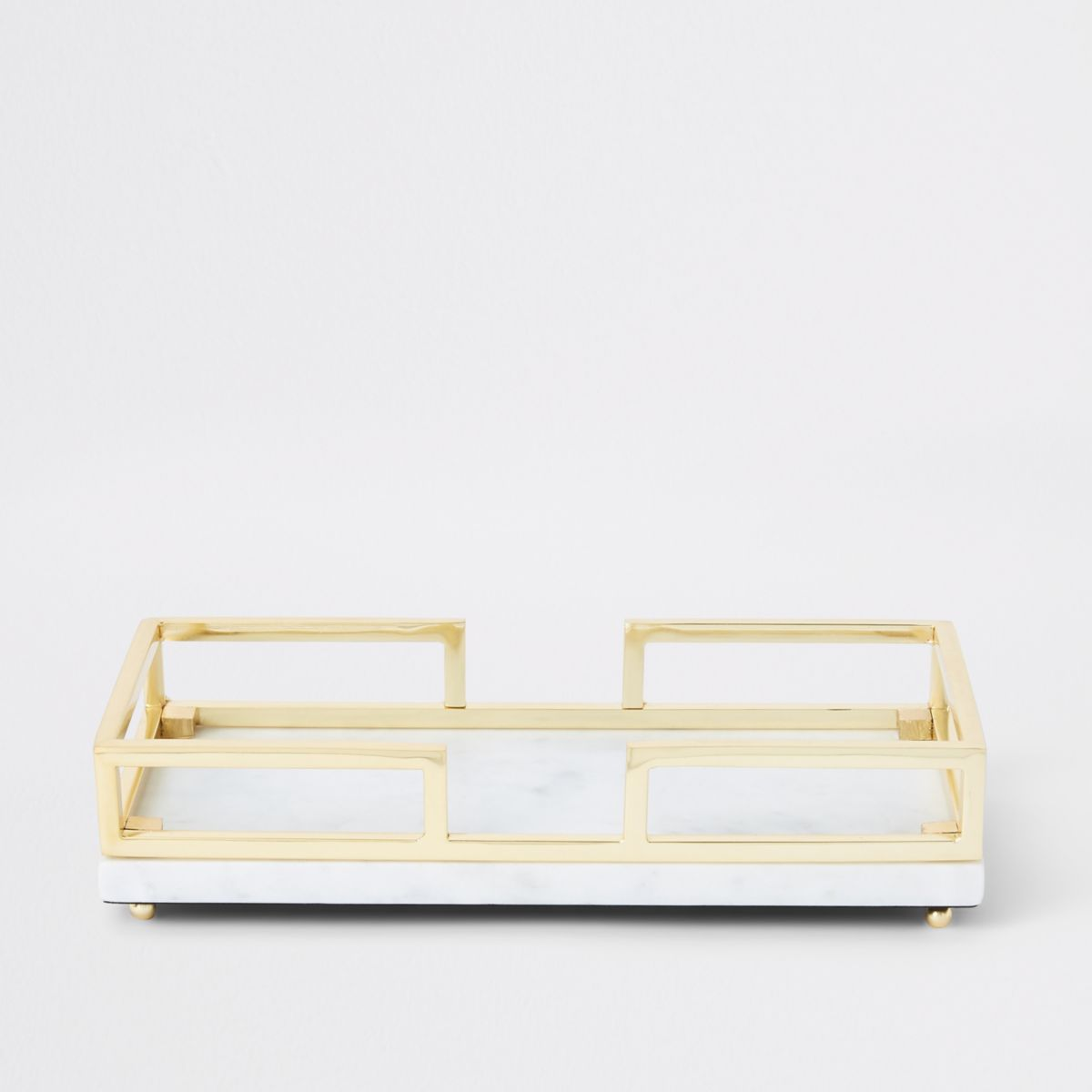 Marble tray with gold metal handles