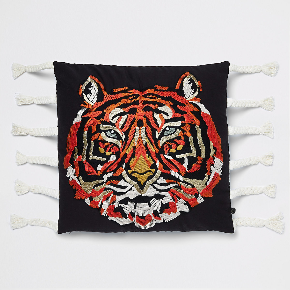 Embroidered tiger cushion with tassels