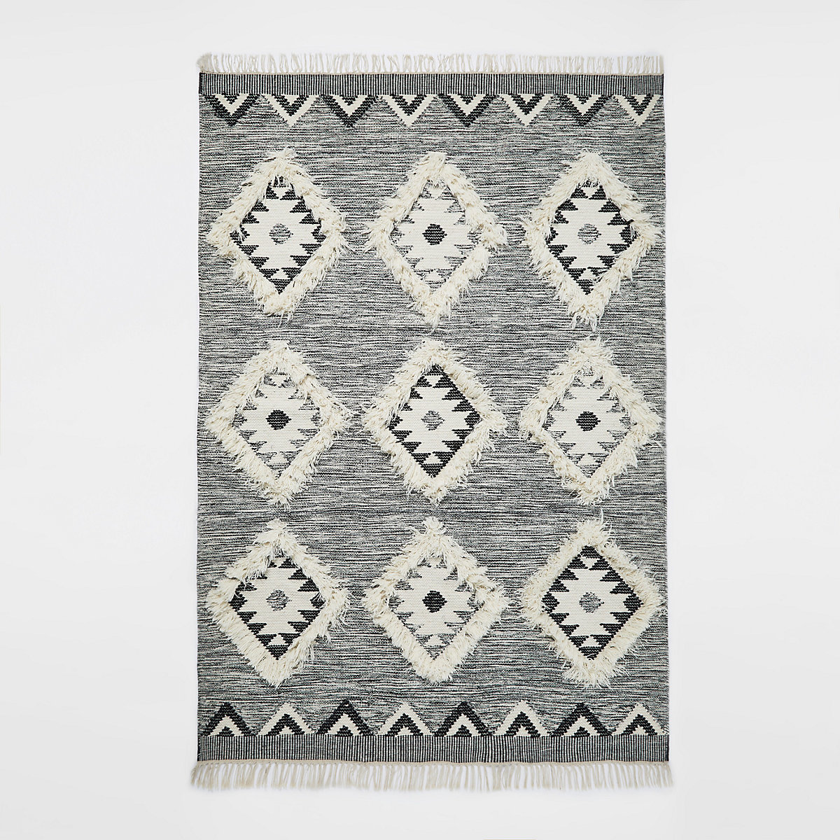 Large grey geometric diamond rug