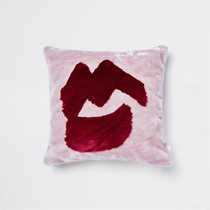 Pink lips faux fur cushion