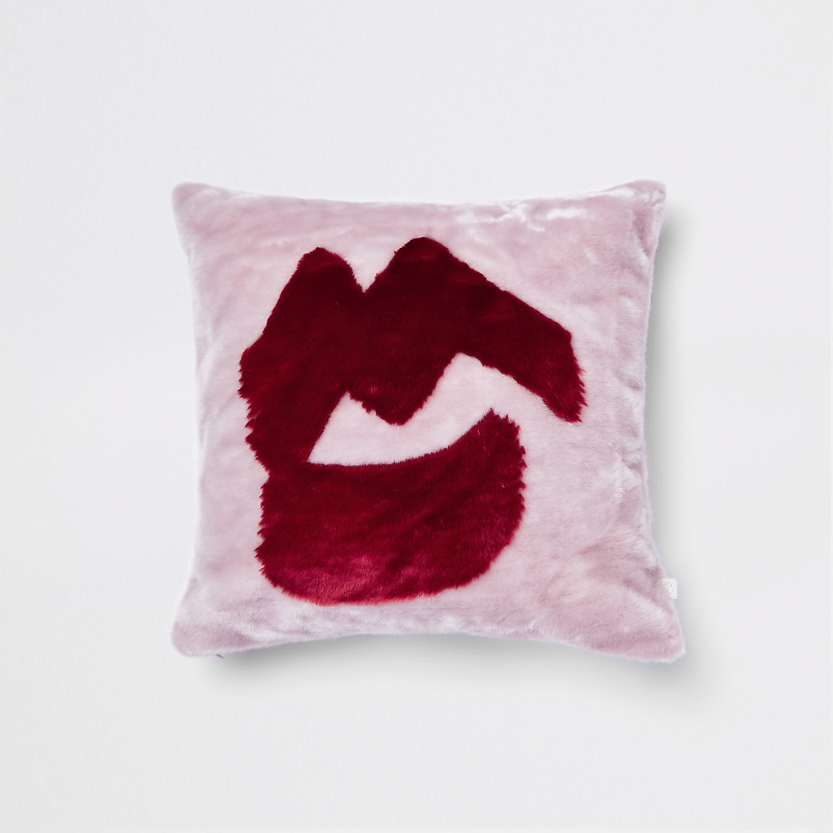 Pink lips faux fur cushion