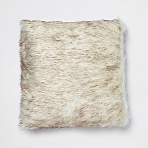 Brown tipped cream faux fur cushion