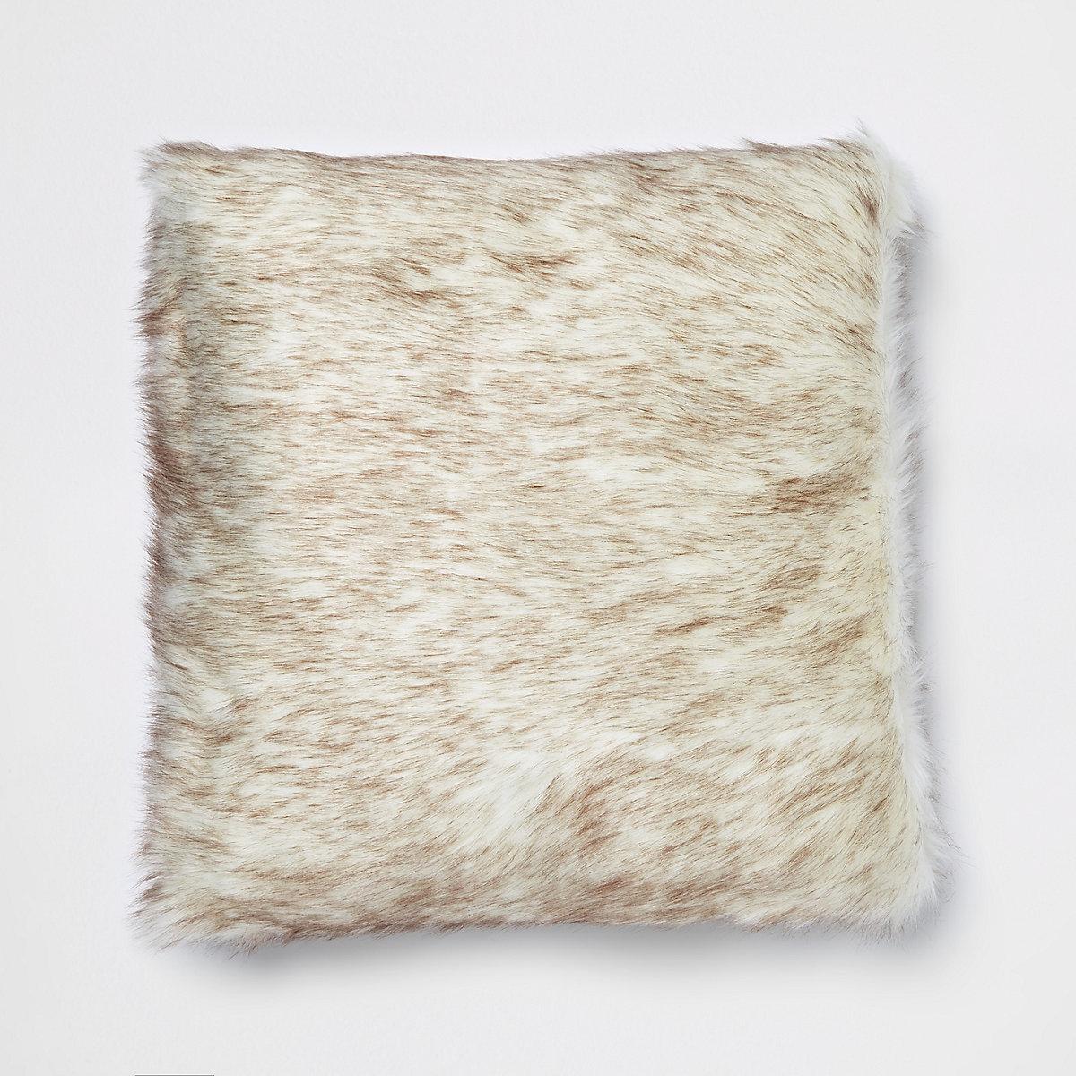 Brown tipped cream faux fur cushion