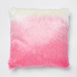Pink ombre faux fur cushion