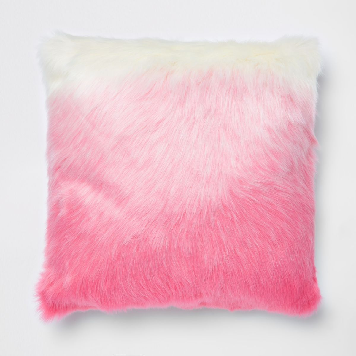 Pink ombre faux fur cushion