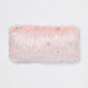 Pink sequin faux fur cushion