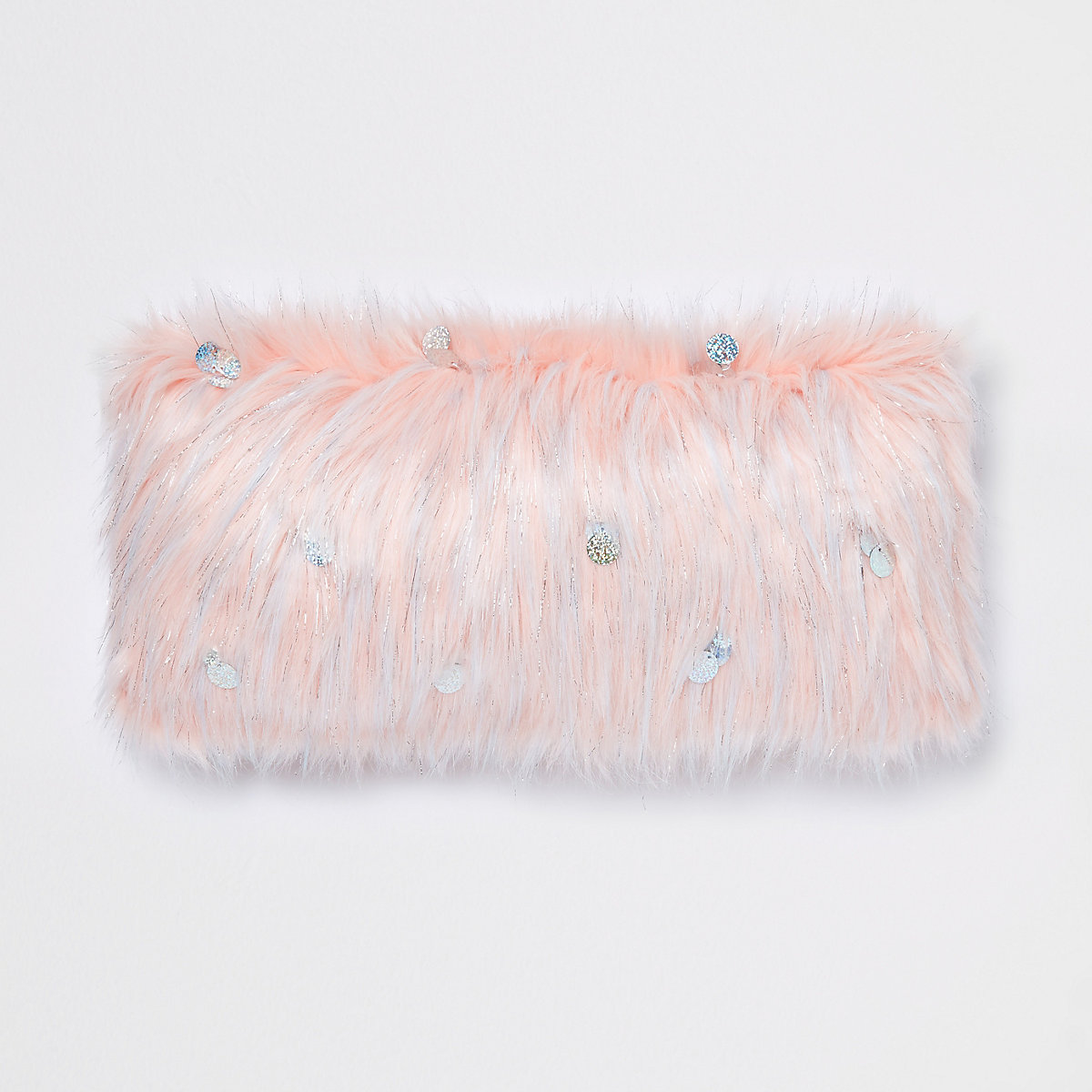 Pink sequin faux fur cushion