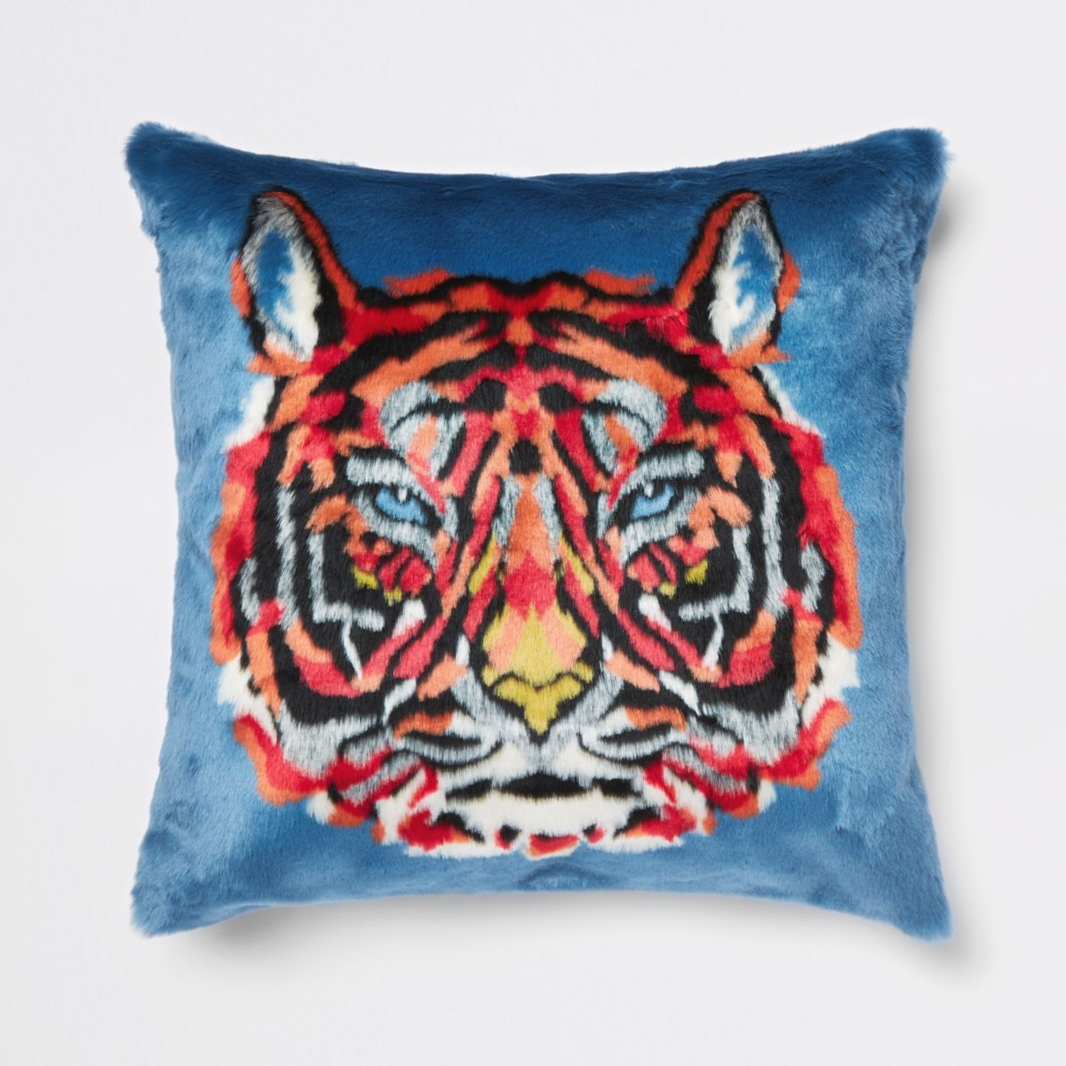 Blue tiger faux fur cushion