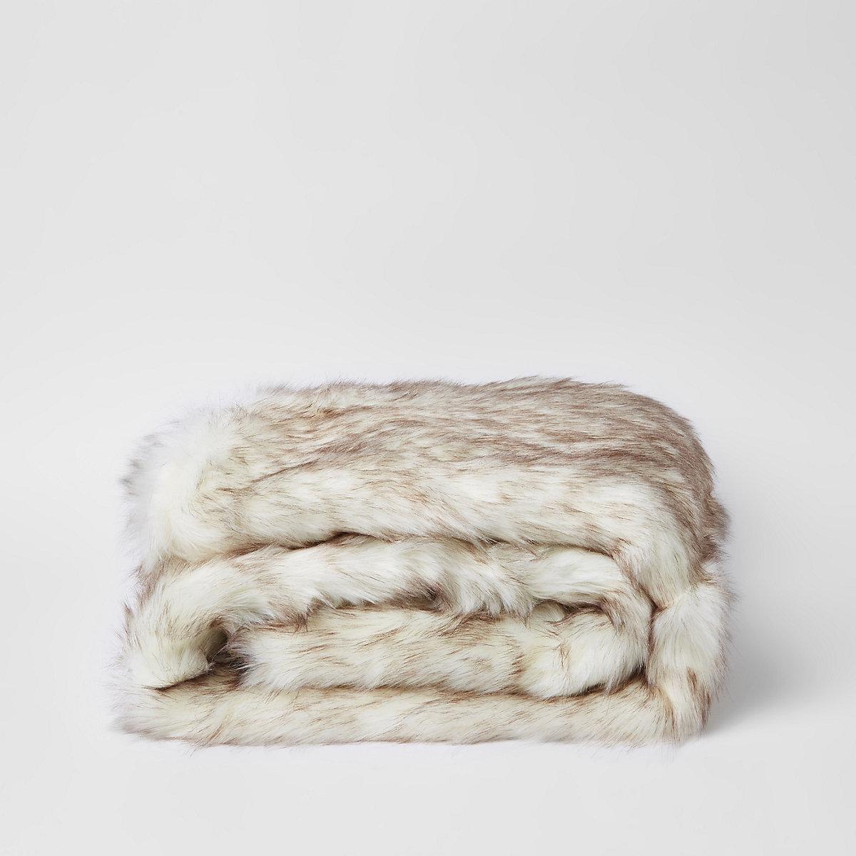 Cream faux fur throw with pink paisley back